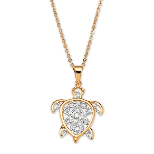 "18k Gold-Plated Filigree Turtle Pendant and Chain 18"" Tailored"