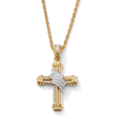 Men's Gold Tone Wrapped Cross Pendant (44mm) Round Crystal