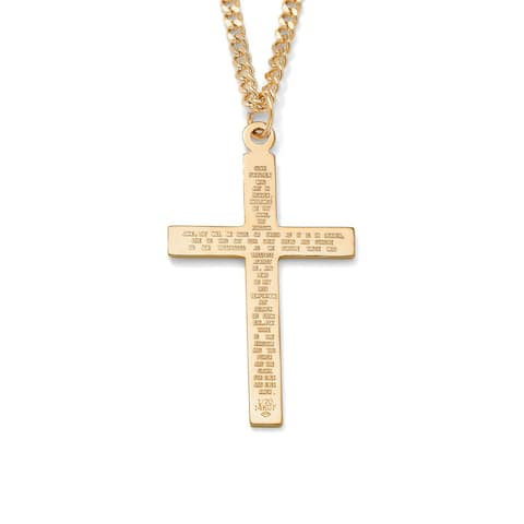 """Men's Lord's Prayer Gold-Filled Pendant and Gold Ion-Plated Chain 24"""""""