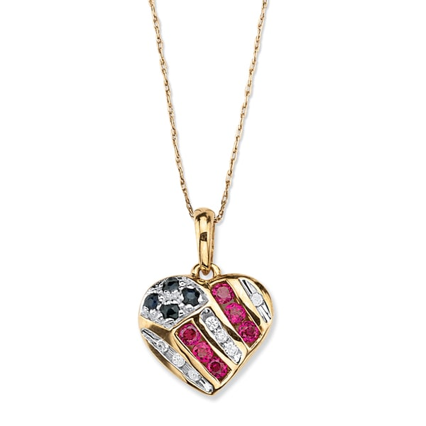 1/5 TCW Round Genuine Sapphire and Lab-Created Ruby 10k Yellow Gold Patriotic Pendant and