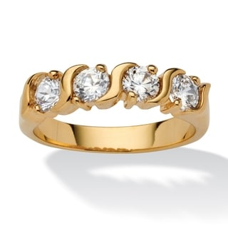 PalmBeach 1 TCW Round Cubic Zirconia S Style Ring in Yellow 18k Gold-Plated Classic CZ