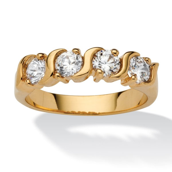 1 TCW Round Cubic Zirconia S Style Ring in Yellow 18k Gold-Plated Classic CZ
