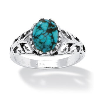 Oval-Shaped Simuluated Turquoise Sterling Silver Antique-Finish Southwest Style Cocktail R