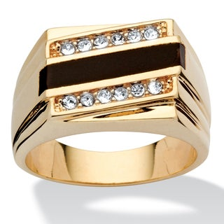 PalmBeach Men's Emerald-Cut Genuine Onyx Crystal Accent 14k Yellow Gold-Plated Classic Ring