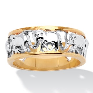 18k Gold-Plated Two-tone Elephant Caravan Ring