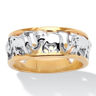 18k Gold-Plated Two-tone Elephant Caravan Ring|https://ak1.ostkcdn.com/images/products/7377866/P14837791.jpg?impolicy=medium