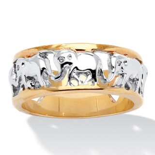 18k Gold-Plated Two-tone Elephant Caravan Ring (4 options available)