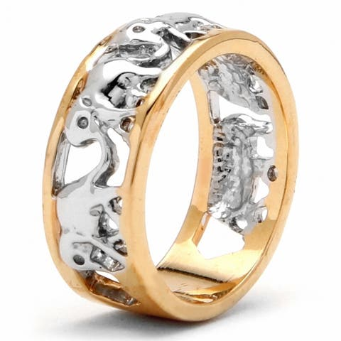 Yellow Gold-Plated Two Tone Elephant Caravan Ring