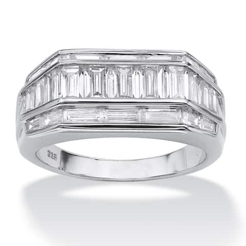 Men's 4.28 TCW Baguette Cut Cubic Zirconia Platinum over Sterling Silver Classic Ring