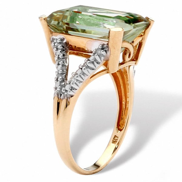 60277096d Shop 5.80 TCW Cushion-Cut Genuine Green Amethyst and Diamond Accent Ring in  10k Yellow Gold - On Sale - Free Shipping Today - Overstock - 7377868