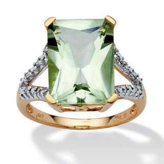 PalmBeach 5.80 TCW Cushion-Cut Genuine Green Amethyst and Diamond Accent Ring in 10k Yellow Gold