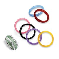 Multicolor Jade Cubic Zirconia Accent Sterling Silver 8-Piece Interchangeable Ring Set Nat
