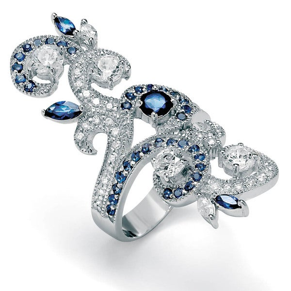 1.68 TCW Round Cubic Zirconia and Marquise-Cut Blue Glass Ring in Sterling Silver Glam CZ