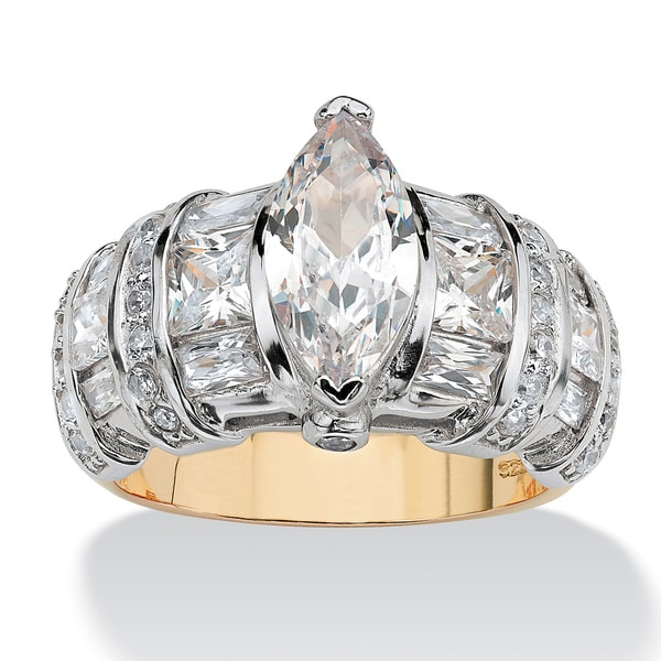 4.17 TCW Marquise-Cut Cubic Zirconia 18k Gold over Sterling Silver Ring Classic CZ