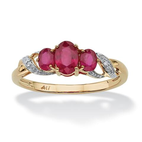 10K Yellow Gold Genuine Red Ruby and Diamond Accent 3-Stone Ring