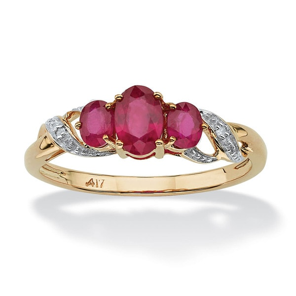 1 TCW Oval-Cut Ruby and Diamond Accent Three Stone Ring in 10k Gold
