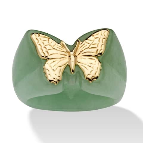 14K Yellow Gold Genuine Green Jade Butterfly Ring