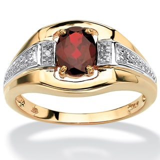 PalmBeach Men's 1.40 TCW Oval-Cut Garnet and Diamond Accent Ring in 18k Gold over Sterling Silver