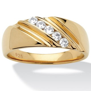 PalmBeach Men's .50 TCW Round Cubic Zirconia Diagonal Ring in 18k Gold over Sterling Silver Sizes 8-16