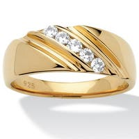 Men's .50 TCW Round Cubic Zirconia Diagonal Ring in 18k Gold over Sterling Silver Sizes 8-