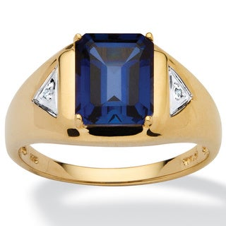 Men's 2.75 TCW Emerald-Cut Sapphire Ring in 18k Gold over .925 Sterling Silver