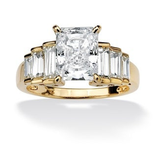 PalmBeach 4 3/4 TCW Octagon-Shaped Cubic Zirconia 14k Gold over Sterling Silver Engagement/Anniversary Ring Classic CZ