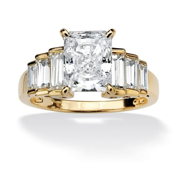 4 3/4 TCW Octagon-Shaped Cubic Zirconia 14k Gold over Sterling Silver Engagement/Anniversa