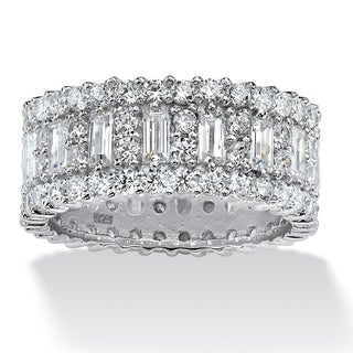 PalmBeach 4.80 TCW Baguette Cubic Zirconia Eternity Band in Platinum Over .925 Sterling Silver Glam CZ