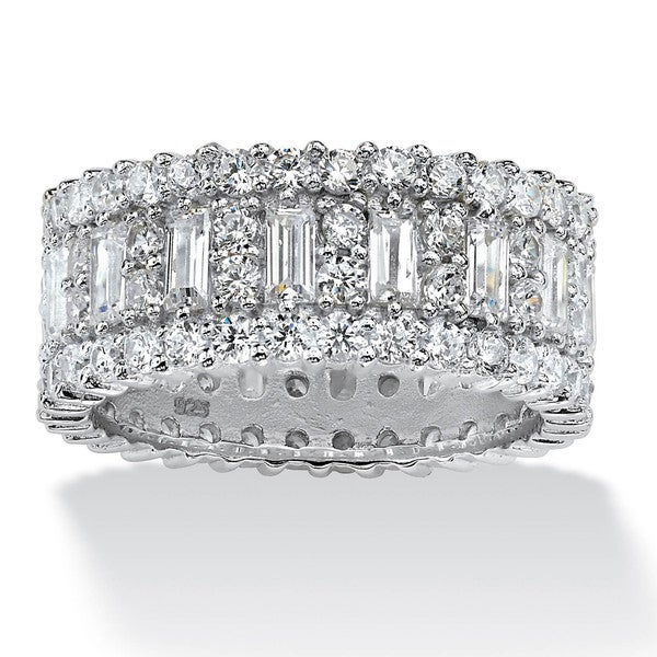 4.80 TCW Baguette Cubic Zirconia Eternity Band in Platinum Over .925 Sterling Silver Glam