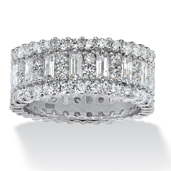 Platinum over Sterling Silver Cubic Zirconia Eternity- Bridal Ring - White. Opens flyout.
