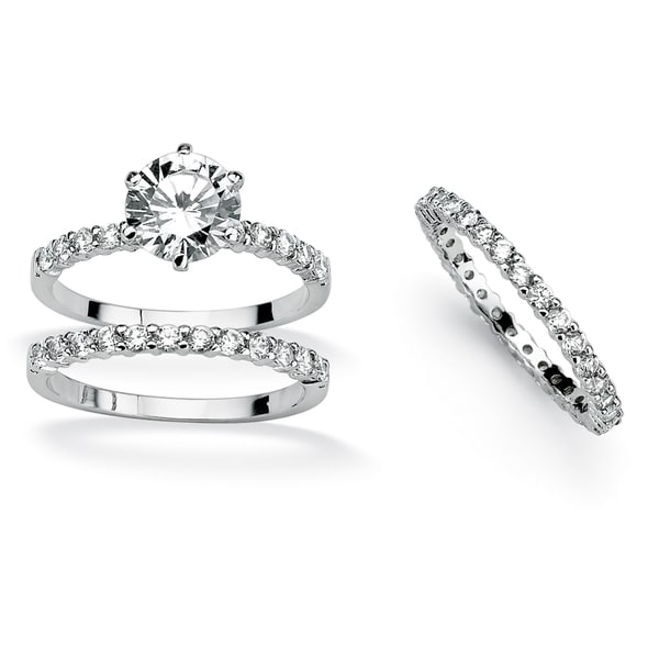 3 Piece 3.75 TCW Round Cubic Zirconia Bridal Ring Set in Platinum over Sterling Silver Cla