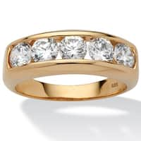 Men's 2.50 TCW Round Cubic Zirconia Wedding Band in 18k Gold over Sterling Silver Sizes 8-