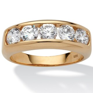 Men's 2.50 TCW Round Cubic Zirconia Wedding Band in 18k Gold over Sterling Silver Sizes 8- (4 options available)