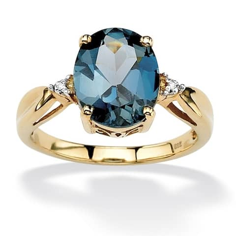 18K Gold over Sterling Silver Blue Topaz and Diamond Accent Ring