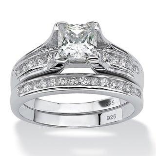 PalmBeach 1.88 TCW Princess-Cut Cubic Zirconia Two-Piece Bridal Set in Platinum over .925 Sterling Silver Classic CZ