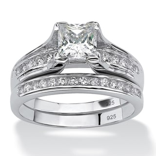 1.88 TCW Princess-Cut Cubic Zirconia Two-Piece Bridal Set in Platinum over .925 Sterling S