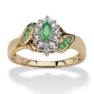 3/8 TCW Marquise-Cut and Round Genuine Emerald Diamond Accent 18k Gold over Sterling Silve