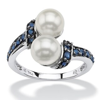 .79 TCW Midnight Blue Genuine Sapphire and Freshwater Pearl Platinum over Sterling Silver