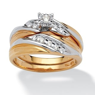 Yellow Gold over Sterling Silver Cubic Zirconia Bridal Set