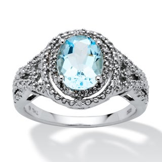 PalmBeach 2.50-Carat Oval-Cut Genuine Blue Topaz and Diamond Accent Platinum over Sterling Silver Ring