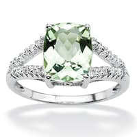 2.32 TCW Genuine Green Amethyst and Diamond Accent Ring in Platinum Over .925 Sterling Sil