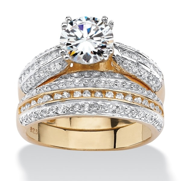 Yellow Gold over Sterling Silver Cubic Zirconia Bridal Ring Set