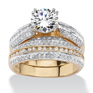 2.55 TCW Cubic Zirconia Two-Piece Bridal Set in18k Gold over Sterling Silver Classic CZ