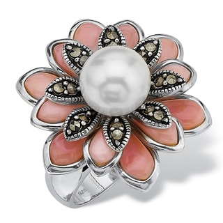 PalmBeach Cultured Freshwater Pearl Pink Mother-Of-Pearl Marcasite Sterling Silver Antique-Finish Flower Ring Naturalist
