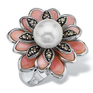 Cultured Freshwater Pearl Pink Mother-Of-Pearl Marcasite Sterling Silver Antique-Finish Fl|https://ak1.ostkcdn.com/images/products/7377900/P14837816.jpg?impolicy=medium