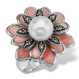 Cultured Freshwater Pearl Pink Mother-Of-Pearl Marcasite Sterling Silver Antique-Finish Fl