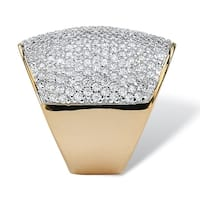 Yellow Gold-plated Cubic Zirconia Pave Set Dome Ring - White