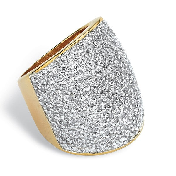 PalmBeach 4.13 TCW Round Cubic Zirconia 14k Gold-Plated Pave-Set Band Glam CZ