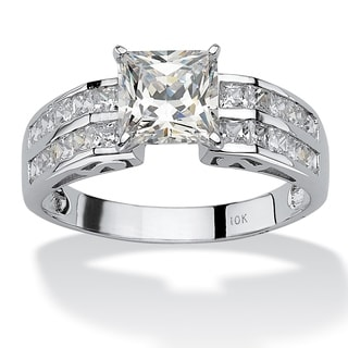 PalmBeach 2.42 TCW Princess-Cut Cubic Zirconia 10k White Gold Engagement Anniversary Ring Classic CZ