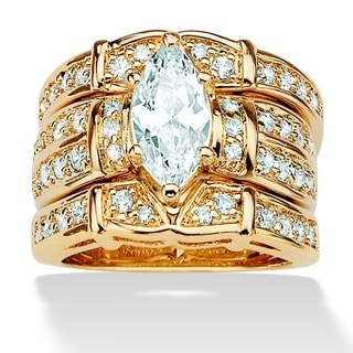 PalmBeach 3.05 TCW Marquise-Cut Cubic Zirconia 14k Gold-Plated Wedding Wedding Ring Set Glam CZ